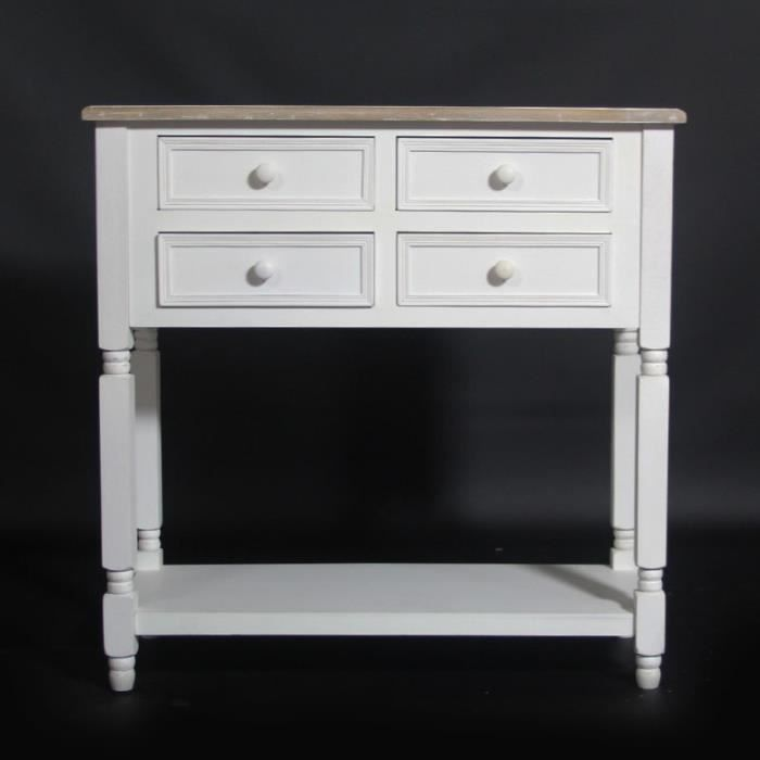console milan 4 tiroirs dessus bois blanc achat vente console console milan 4 tiroirs des. Black Bedroom Furniture Sets. Home Design Ideas