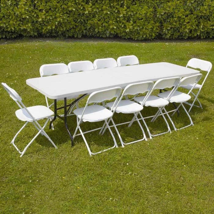 Table et 10 chaises pliantes de r ception jardin 200cm for Table de salon et chaise