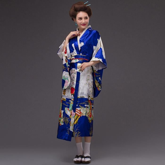 Femmes Print Kimono Robe Robe Traditionnelle Japonaise Photographie Cosplay Costume Bleu Bleu Achat Vente Robe Cdiscount