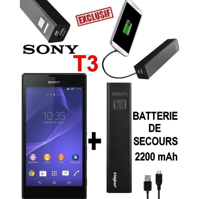 sony xperia t3 style noir batterie externe smartphone. Black Bedroom Furniture Sets. Home Design Ideas