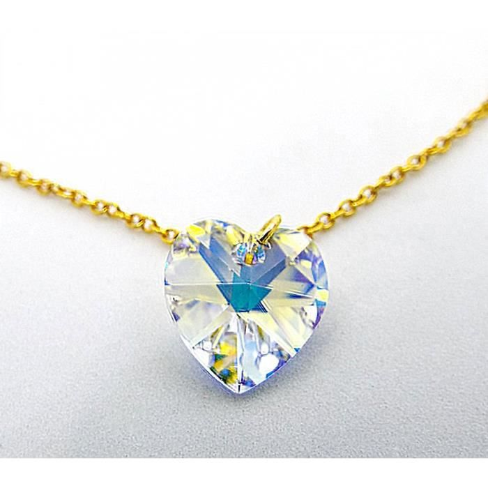 Womens Clear Ab Crystal Heart By Swarovski Pendant Necklace On A Gold Toned Chain KF7BM