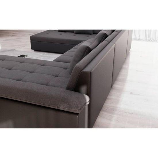 Belmont Canapé D Angle Panoramique En U Simili Et Tissu Noir Et Gris Achat Vente Canapé Sofa Divan Soldes Cdiscount