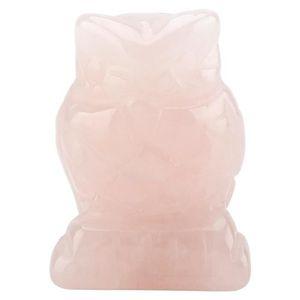 GRAVEUR POUR VERRE COCO cristal rose quartz sculpté en forme de hibou