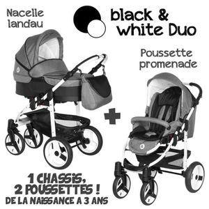 POUSSETTE  Poussette Combinée Duo 2 en 1 B&W Gris / Noir