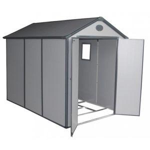 ABRI JARDIN - CHALET Abri de jardin en résine gris 5,32m² + kit de fond
