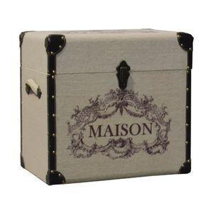 COFFRE - MALLE Malle Coffre de Rangement en Bois Recouvert de Toi