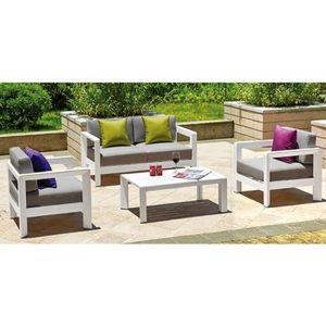 Salon en aluminium blanc 2 fauteuils + canapé + table basse ...