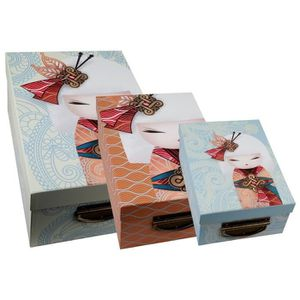BOITE DE RANGEMENT Grande boite bleue de rangement en carton Kimmidol