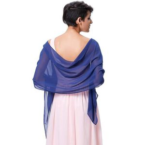 Nouveau Femme Bleu foncé /& bleu clair en Mousseline de Soie Dégradé Couleur Solide Châle Wrap Scarf