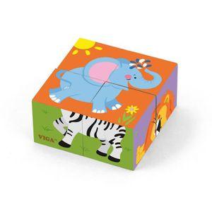 PUZZLE Puzzle cubes en bois Animaux Sauvages bébé enfant