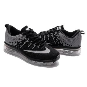 c72f2bfe13df Hommes Nike Flyknit Air Max 2016 Baskets Chaussures de running noir ...