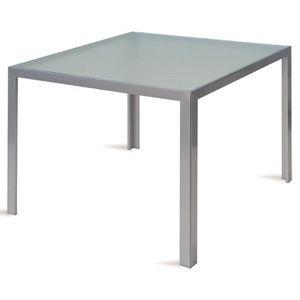 Table en aluminium argent avec plateau en verre trempé - Dim ...