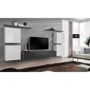 MEUBLE TV Meuble TV mural SWITCH IV design, coloris gris et