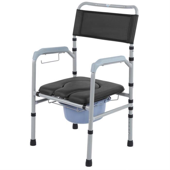 Chaise percée Chaise toilettes Chaise de toilettes Réglable avec bassin Urinal urine Avec couvercle WC Pliant Commode Adulte - CWU