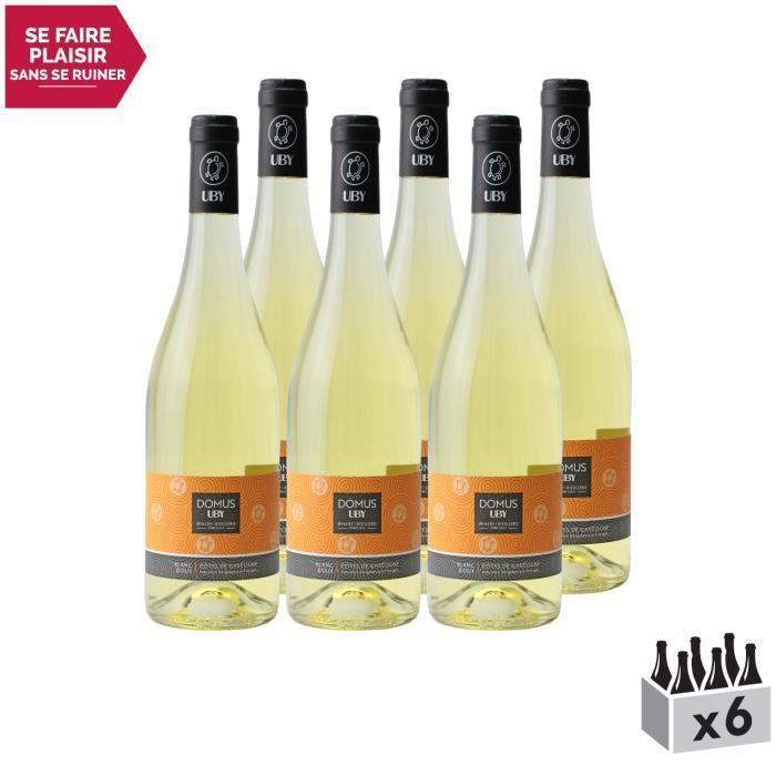 Côtes de Gascogne Domus Gros Menseng Doux Blanc - Lot de 6x75cl - Domaine d'Uby - Vin IGP Blanc du Sud-Ouest - Cépage Gros Manseng