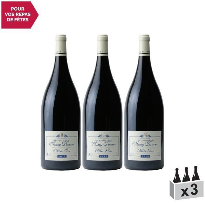 Auxey-Duresses Vieilles Vignes MAGNUM Rouge 2019 - Lot de 3x150cl - Domaine Alain Gras - Vin AOC Rouge de Bourgogne - Cépage Pinot