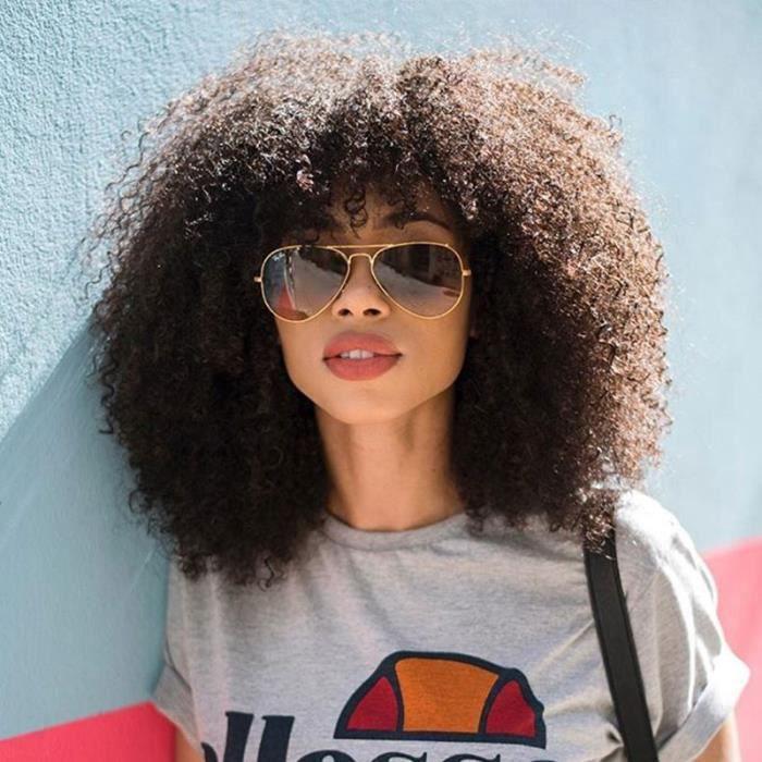 Mongolian Afro Kinky Curly 13x6 Lace Front perruques de cheveux humains avec frange cheveux humains-22 Pouces