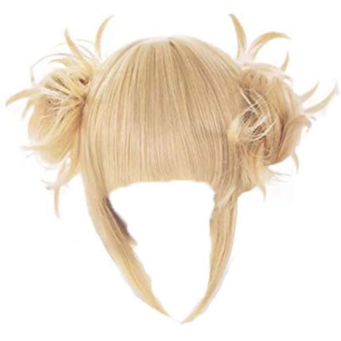 GZIRUE Himiko Toga Perruque Cheveux avec Chignons Blonde Courte Mignonne Douce Femmes Halloween Carnival Fte Anime Cosplay Co[8113]
