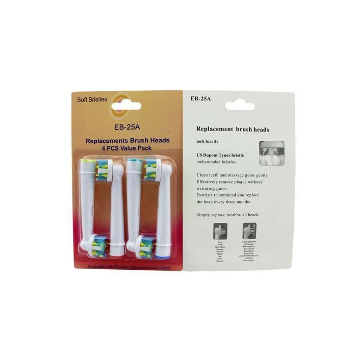 SOFT BRISTLES Lot de 4 recharges pour brosse a dents oral B, tête de brosse à dent EB-25A