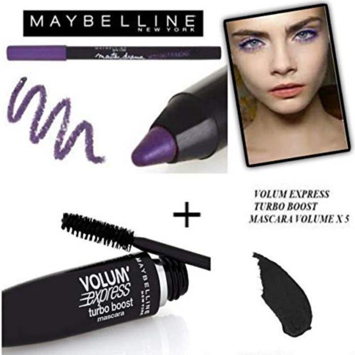 Mascaras Kit-Set Mascara Gemey Maybeline Turbo Volum' Express Noir + Crayon Waterproof Master Drama Khol Liner Ultra Vio 27670