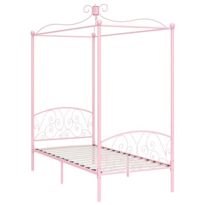 Jardin - Lit adulte à baldaquin - Lit enfant Lit pour 1 personnes Structure de lit Classique Rose Métal 100 x 200 cm Ancien 20928
