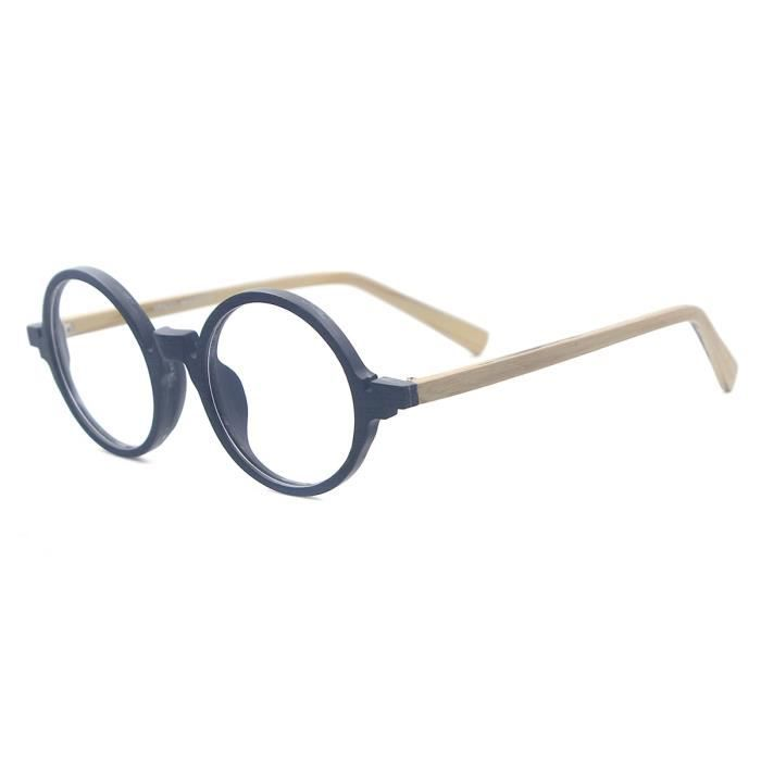 Montures de Lunettes de vue,Acétate petits hommes lunettes rondes Texture bois femmes Vintage lunettes montures - Type Black Wood