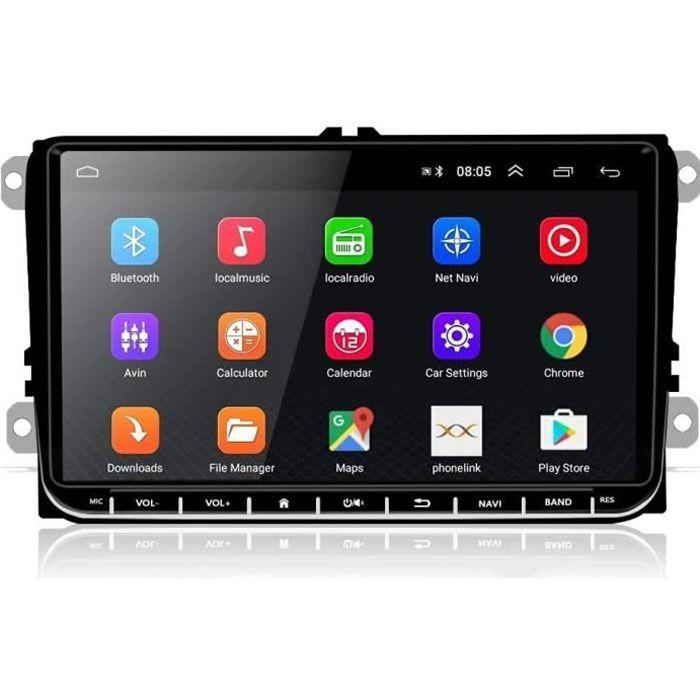 AUTORADIO 9- Android Double Din Autoradio Bluetooth pour VW Seat Passat Golf Skoda, Podofo Lecteur MP5 Multimédia de Voiture de Na73
