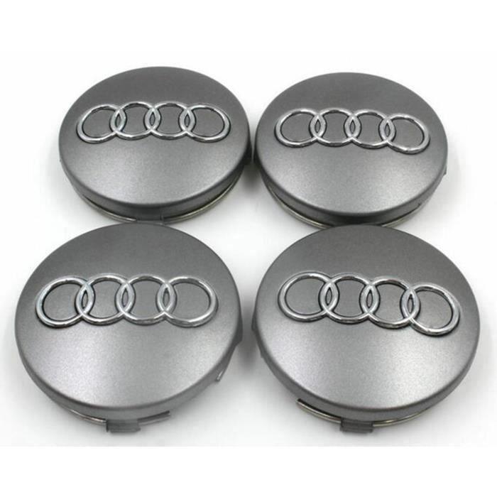 4x Logo Jante Audi Gris Argent 61 mm Cache Moyeu Centre De Roue Emblème