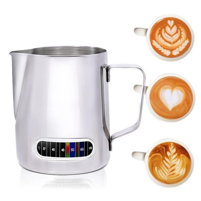 Carafe,Carafe à froisser le lait avec thermomètre intégré, en acier inoxydable, pichet à mousse, 20 oz (600 ml), pour Pots de café