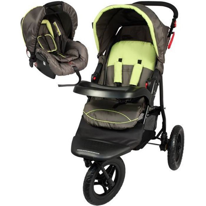 BAMBISOL Duo Poussette 3 Roues + Siège Auto G0+ - Choco Anis