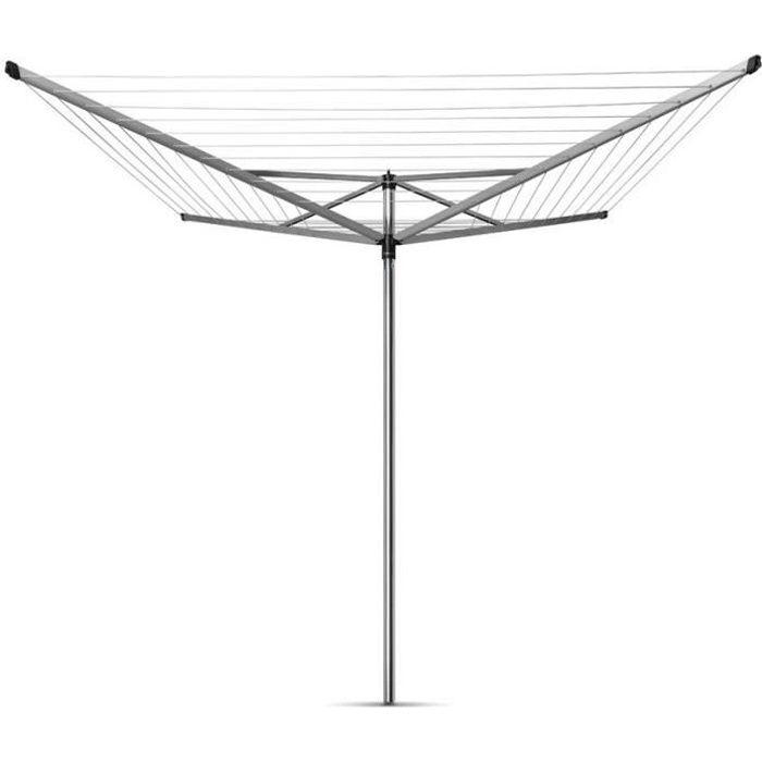 BRABANTIA - 310867 - Séchoir Topspinner, rotatif - 60 mètres – ancre en métal – Ø 45 mm – 4 bras – Metallic Grey