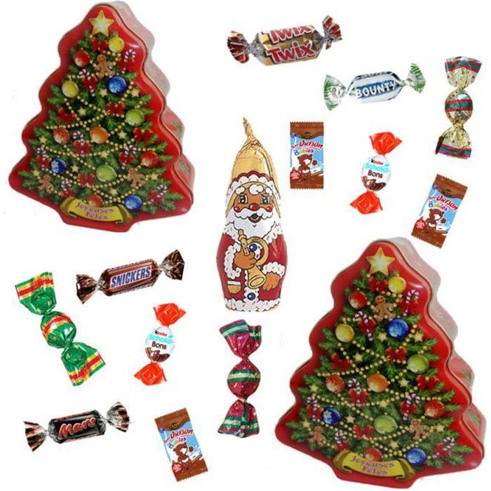 Lot de 3 sapins de Noël garnis de 35 chocolats