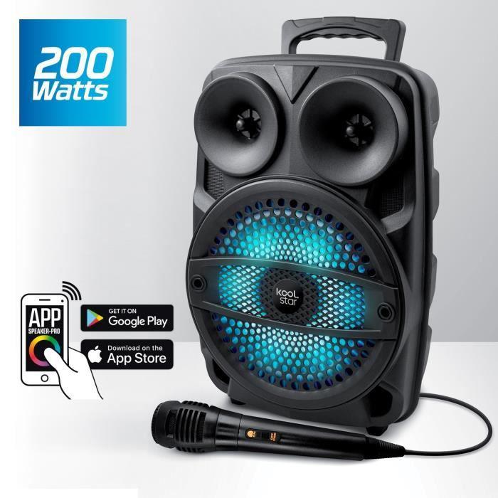 Enceinte Karaoké Autonome SUBLIM08 200W DJ SONO Koolstar LED avec micro/Fonction BT/USB/AUX/PC / Appplication smartphone