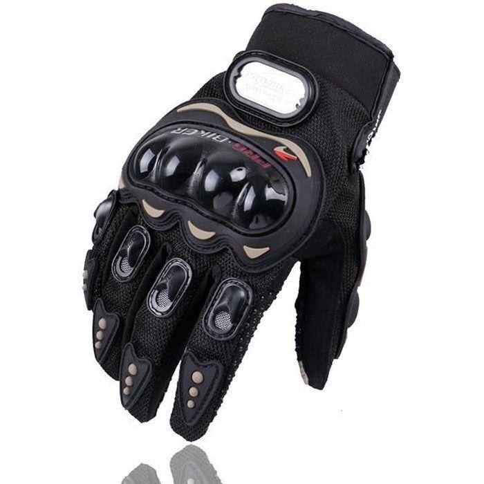 1 Paire Gants Moto Homologué Femme Homme Plein-Doigt Ecran Tactile Respirable Anti-glissant Anti-usure Réglable