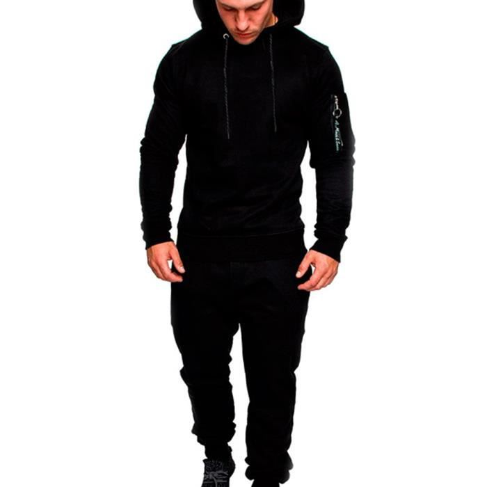 Homme Ensemble Sweat-Shirt à Capuche à Manches Longues et Pantalon,Ensemble Pull Hooded Décontractée Noir XXL