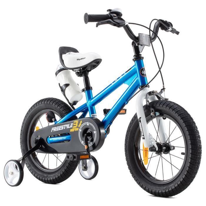Vélo enfant Royalbaby Freestyle Bleu 14 pouces avec roues d'entraînement et bouteille d'eau