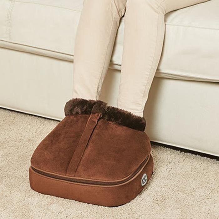 Chauffe-pieds électrique chauffant chaussures de Massage confortables pieds en velours 8 têtes de massage sur la plante du pied