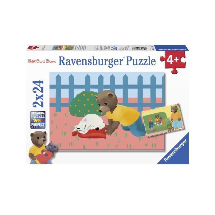 RAVENSBURGER Puzzle 2x24 p - Petit Ours Brun à la maison