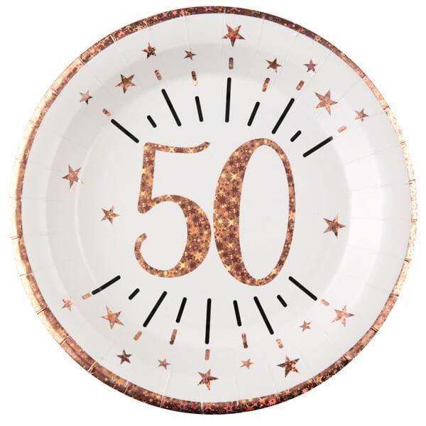 Assiette anniversaire 50 ans blanche et rose gold 22.5cm (x10) REF/7348 Matière carton
