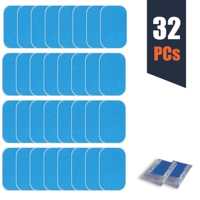 32 Feuille EMS Gel Pad, Abs Entraîner Replacement Feuille de Gel de Rechange de Formateur de boursouflure d'électrostimulateur