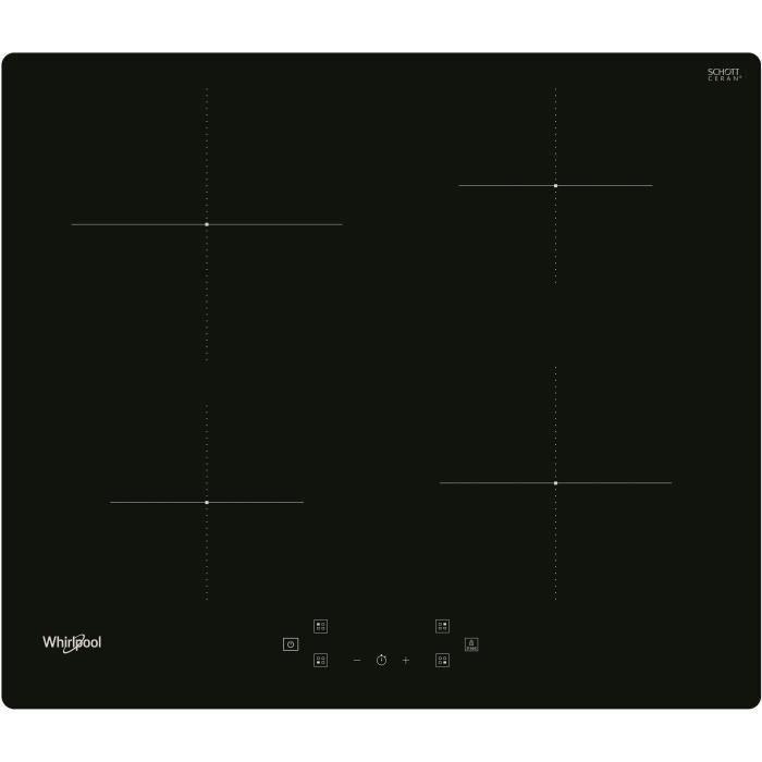 WHIRLPOOL - WSQ4860NE - Table de cuisson induction - 4 foyers - 7200W - L60 cm - Rêvetement verre noir
