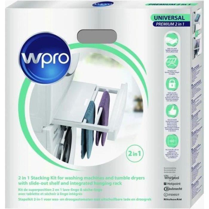 WPRO SKP101 Kit de Superposition Universel 2 en 1 Lave-linge / Sèche Linge avec tablette et Séchoir