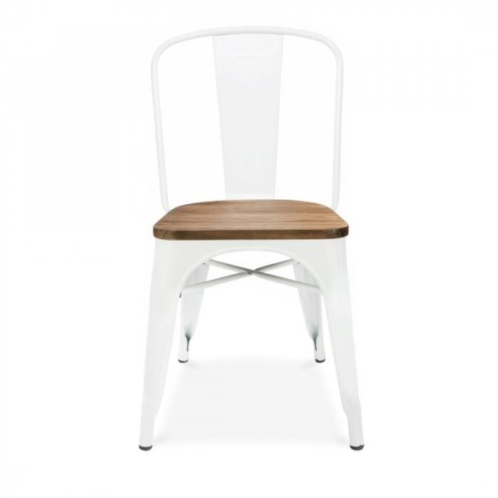 Chaise Inspiration Tolix Assise Bois Blanc