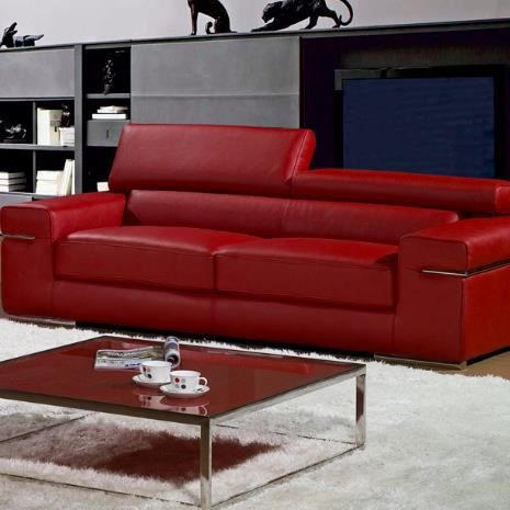 Canap 3 places en cuir rouge thomas achat vente canap sofa divan cu - Canape 3 places simili cuir ...