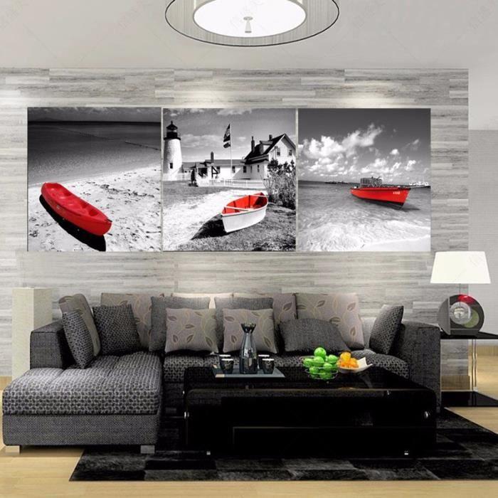 3 Panneaux Imprimés Toile Peinture Blanc Noir Rouge Banc Mur Art Pour Salon Sans Cadre Sans étirement
