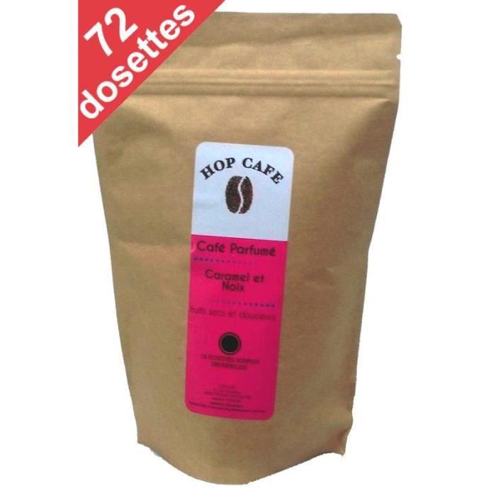 CAFÉ Pack 72 dosettes de Café aromatisé Caramel Noix po
