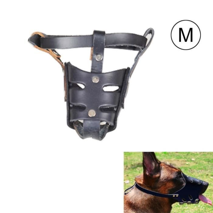 (#92) Adjustable Genuine Leather Basket Cage Muzzle For Pet Dog Fashion Muzzle, Size: M, Random Color Delivery