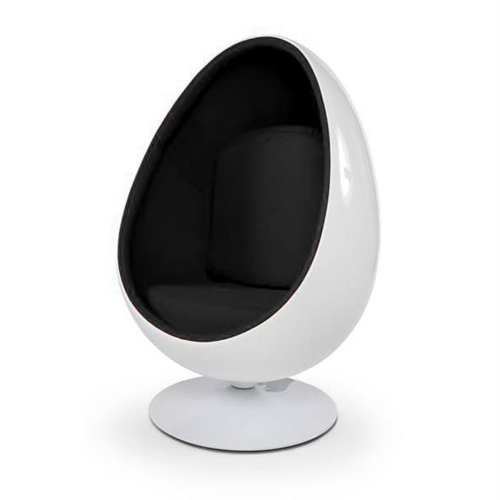 fauteuil oeuf boule design blanc noir achat vente fauteuil mati re de la structure. Black Bedroom Furniture Sets. Home Design Ideas