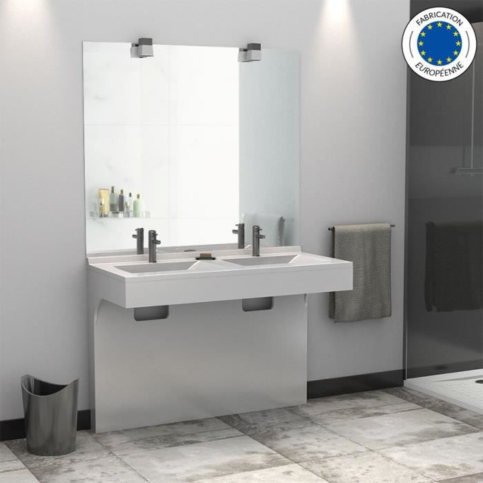 Meuble double vasque corleone 120 blanc 120 for Meuble lavabo double vasque