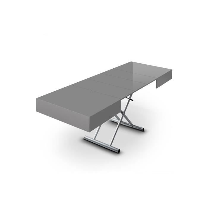 Table basse relevable extensible elevator grise salon for Table basse et haute a la fois